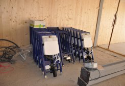 Vorbereitung für den Einbau der Hydrauliktechnik.